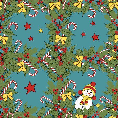 Christmas snowman card. Merry christmas icon set. Vector festive illustration. Leaf nature icon vector. Vector banner. Vector vintage illustration. Winter season illustration. Xmas holiday. Çizim