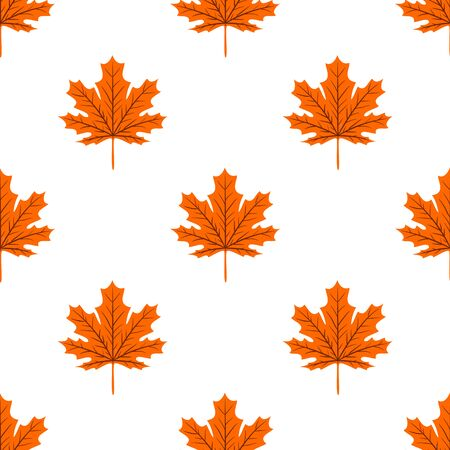 Autumn seamless leaf fall pattern with maple colorful leaves. Design for fall season posters, wrapping papers and holidays decorations. Vector illustration Çizim