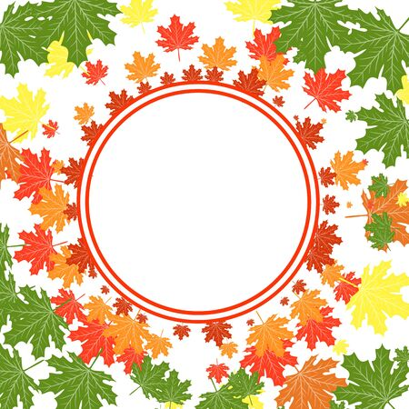 autumn leaves frame Autumn Colorful Leaves Background. Vector. Çizim