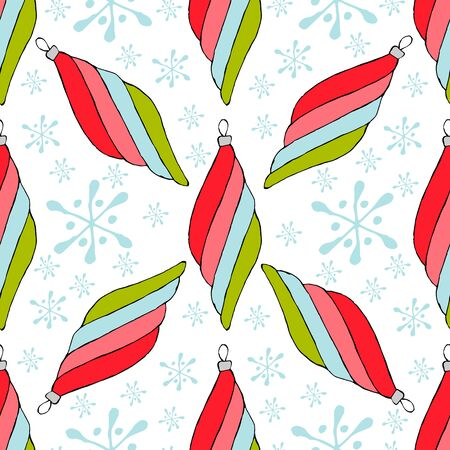 Christmas balls seamless pattern. Modern abstract red collection on a white background. Christmas background Modern vector illustration. Vector seamless background. Geometric wallpaper design. Abstract seamless geometric pattern