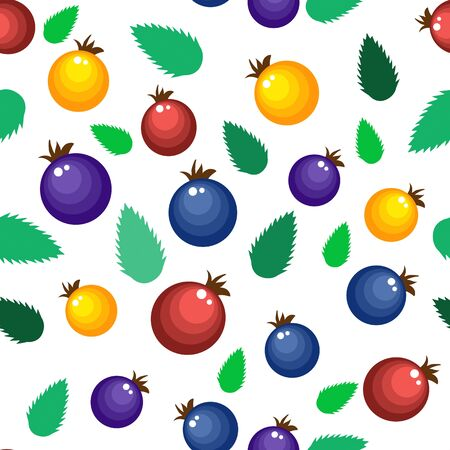 Assorted forest berries seamless pattern. Simple naive rustic style repeatable motif in red and violet colors for background, wrapping paper, fabric, surface design.