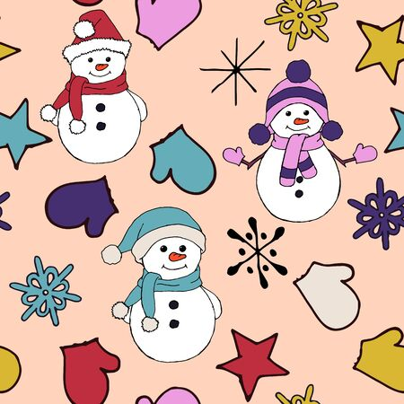 Christmas seamless pattern with snowman, fir trees and snowflakes. Perfect for wallpaper, wrapping paper, pattern fills, winter greetings, web page background, Christmas and New Year greeting cards
