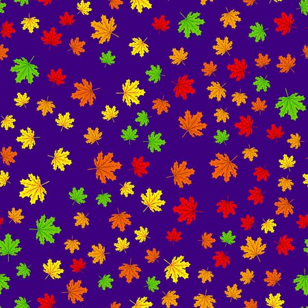Beautiful Hand drawn Maple leaves mix with modern line in maple shape and autumn leaves element seamless pattern vector layer for fashion,fabric,and all prints on dark green Stok Fotoğraf - 132157072