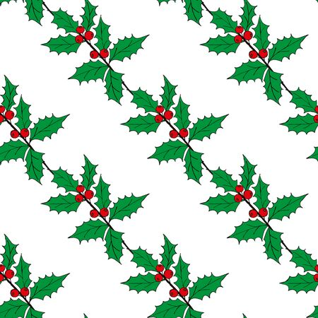 Christmas seamless pattern of red and blue holly berries. Christmas holiday pattern. seamless pattern merry christmas pattern. Illustration