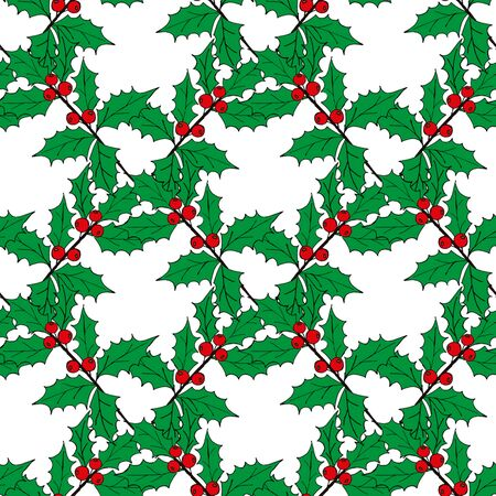 Christmas seamless pattern of red and blue holly berries. Christmas holiday pattern. Vector seamless pattern merry christmas pattern. Vector Illustration