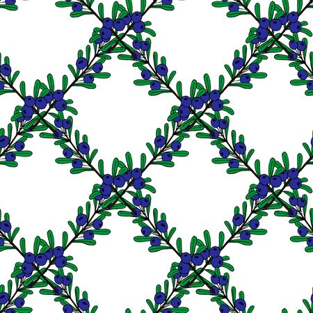 Christmas seamless pattern of red and blue holly berries. Christmas holiday pattern.