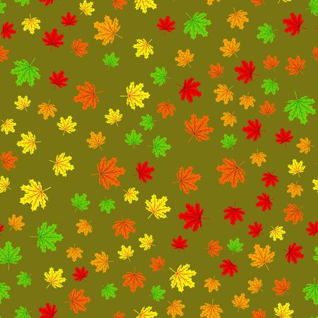 Autumn seamless background with maple colorful leaves. Design for fall season posters, wrapping papers and holidays decorations. Vector illustration leaf fall pattern Stock Illustratie