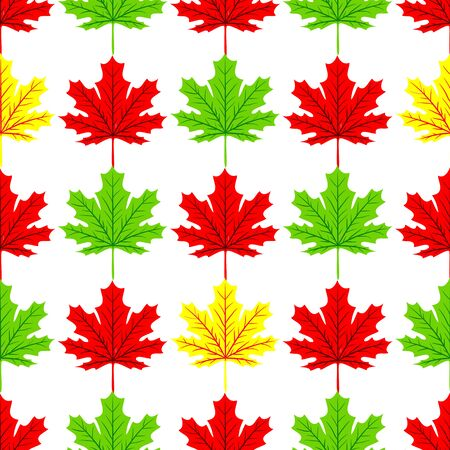 Autumn seamless leaf fall pattern with maple colorful leaves. Design for fall season posters, wrapping papers and holidays decorations. Vector illustration Illustration