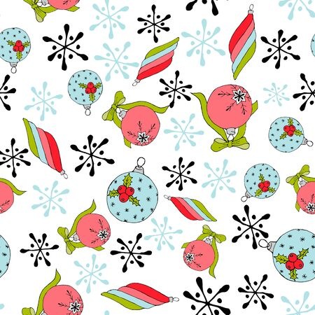 Christmas balls seamless pattern. Modern abstract red collection on a white background. Christmas background Modern vector illustration. Vector seamless background. Geometric wallpaper design. Abstract seamless geometric pattern.