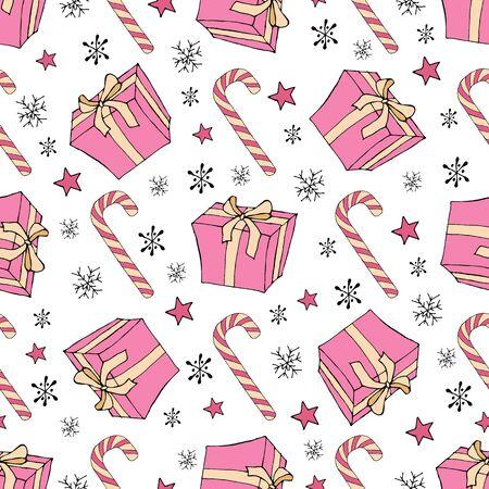 Seamless Christmas present. Cane lollipop. Seamless Christmas present in vintage style on a white background. Vector vintage illustration Vector seamless pattern Vector background Vintage vector card. Abstract modern background. Illusztráció