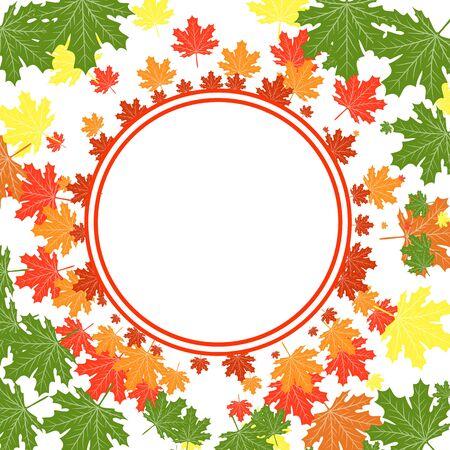 autumn leaves frame Autumn Colorful Leaves Background. Vector. Illusztráció