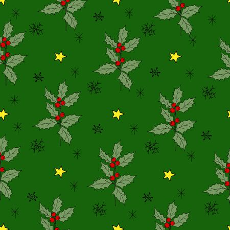 Vintage seamless pattern with vector holly pattern for paper design. Happy new year decoration. Vector graphic. Vector festive illustration. Holly berry christmas icon. Season greeting. Stock fotó - 133010965