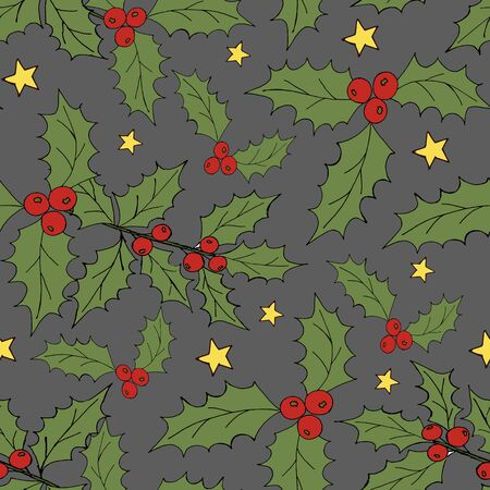 Vintage seamless pattern with vector holly pattern for paper design. Happy new year decoration. Vector graphic. Vector festive illustration. Holly berry christmas icon. Season greeting. Stock fotó - 133011004
