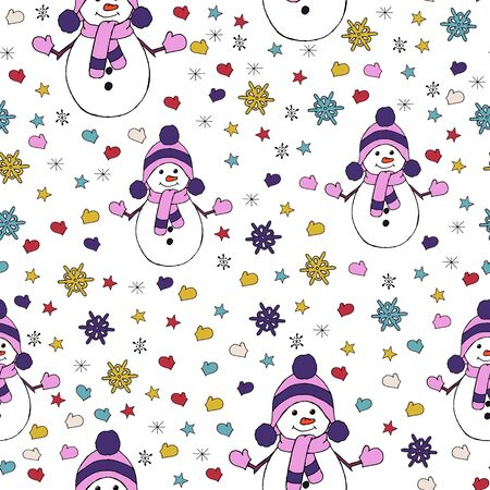 Christmas seamless pattern with snowman, fir trees and snowflakes. Perfect for wallpaper, wrapping paper, pattern fills, winter greetings, web page background Stock fotó - 133011008