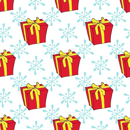 Christmas watercolor seamless pattern with Christmas toys, gifts and snowflakes. Perfect for wallpapers, wrapping paper, pattern fills, winter greetings, web page background. Separate illustrations. White isolated background. Stock fotó - 133011011