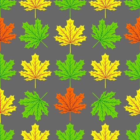 Beautiful Hand drawn Maple leaves mix with modern line in maple shape and autumn leaves element seamless pattern vector layer for fashion,fabric,and all prints on dark green