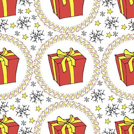 Seamless Christmas present. Cane lollipop. Seamless Christmas present in vintage style on a white background. Vector vintage illustration Vector seamless pattern Vector background Vintage vector card. Abstract modern background. Stock fotó - 133011021