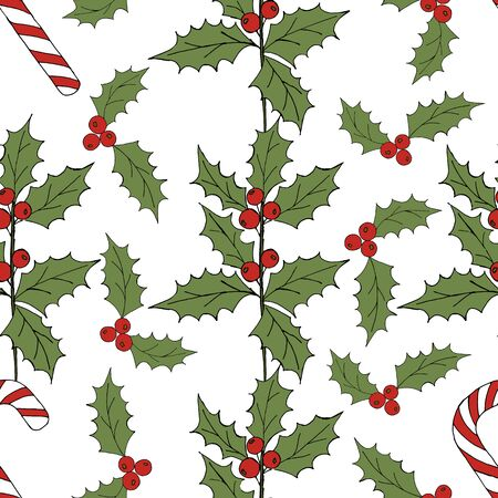 Vintage seamless pattern with vector holly pattern for paper design. Happy new year decoration. Vector graphic. Vector festive illustration. Holly berry christmas icon. Season greeting. Illustration