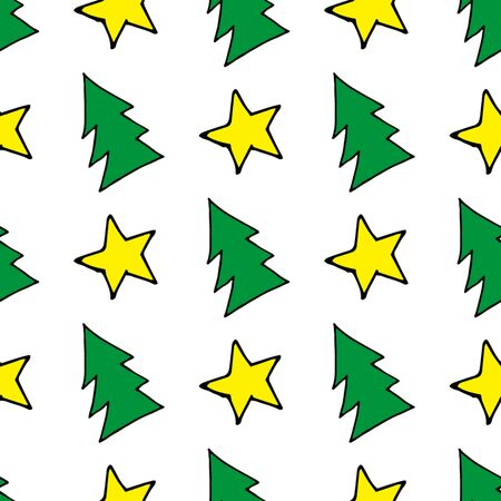 Seamless christmas pattern of christmas trees, stars and snowflakes. Seamless christmas pattern trees for web background design. Vector holiday illustration. Christmas winter background. Stock fotó - 133450116