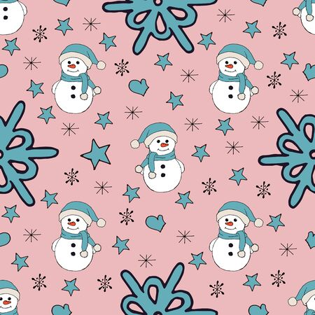 Christmas seamless pattern with snowman, fir trees and snowflakes. Perfect for wallpaper, wrapping paper, pattern fills, winter greetings, web page background Stock fotó - 133450127