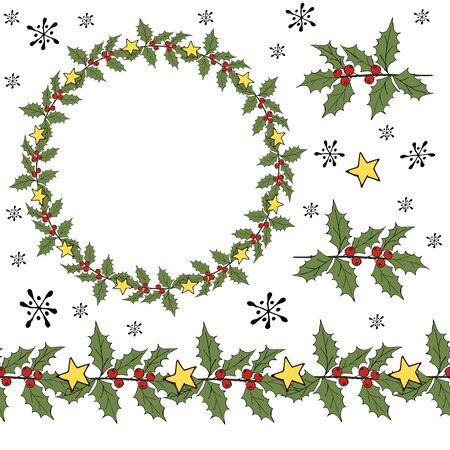 Winter xmas decoration illustration. Holly berry mistletoe. Christmas wreath. Winter xmas ornament. Vector ball Stock fotó - 133058525