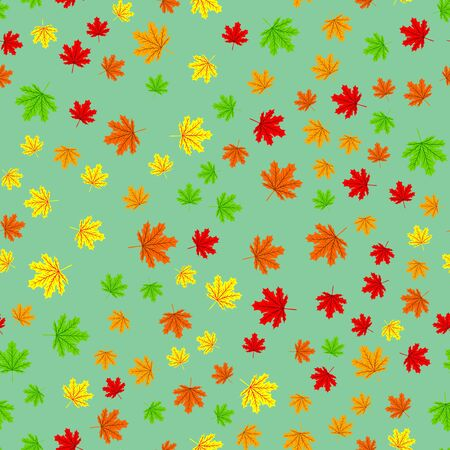Seamless forest pattern with acorns and autumn leaves. Fall background. Vector pattern leaf fall