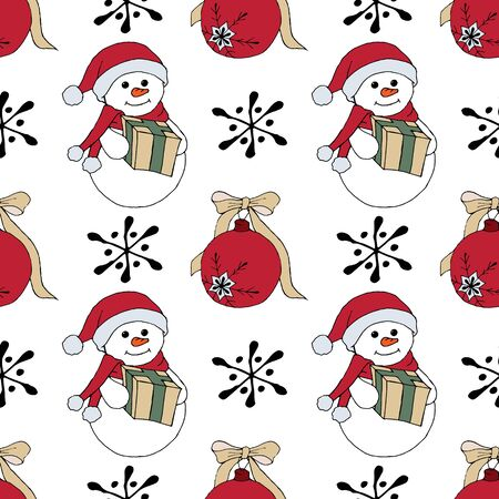 Christmas seamless pattern with snowman, fir trees and snowflakes. Perfect for wallpaper, wrapping paper, pattern fills, winter greetings, web page background Stock fotó - 133450145