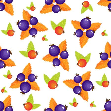 Assorted forest berries seamless pattern. Simple naive rustic style repeatable motif in red and violet colors for background, wrapping paper, surface design.