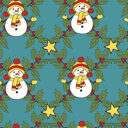 Christmas snowman card. Merry christmas icon set. Vector festive illustration. Leaf nature icon vector. Vector banner. Vector vintage illustration. Winter season illustration. Xmas holiday. Stock fotó - 133150760