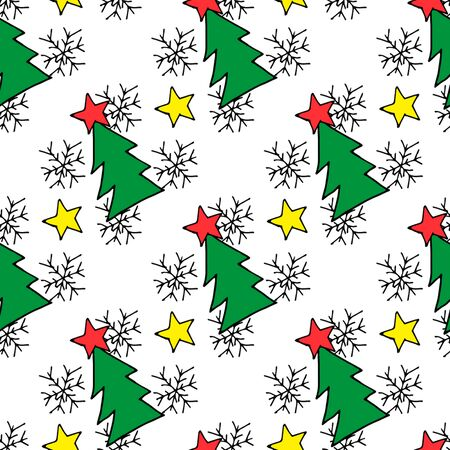 Seamless christmas pattern of christmas trees, stars and snowflakes. Seamless christmas pattern trees for web background design. Vector holiday illustration. Christmas winter background. Illusztráció