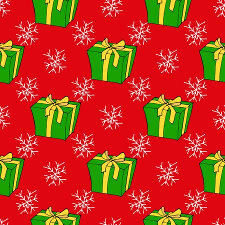 Christmas seamless pattern with Christmas toys, gifts and snowflakes. Perfect for wallpapers, wrapping paper, pattern fills, winter greetings, web page background. Separate illustrations. White isolated background.