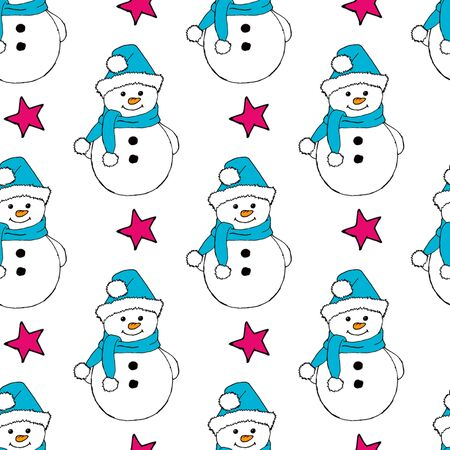 Christmas seamless pattern with snowman, fir trees and snowflakes. Perfect for wallpaper, wrapping paper, pattern fills, winter greetings, web page background Stock fotó - 133944760