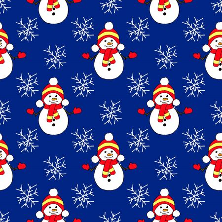 Christmas seamless pattern with snowman, fir trees and snowflakes. Perfect for wallpaper, wrapping paper, pattern fills, winter greetings, web page background Illusztráció