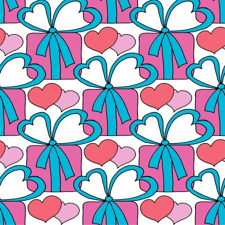 Valentines day seamless pattern with hearts and gifts. Beautiful abstract pattern with Valentines day seamless pattern for decorative design. Logo element for wedding illustration. Vintage design.