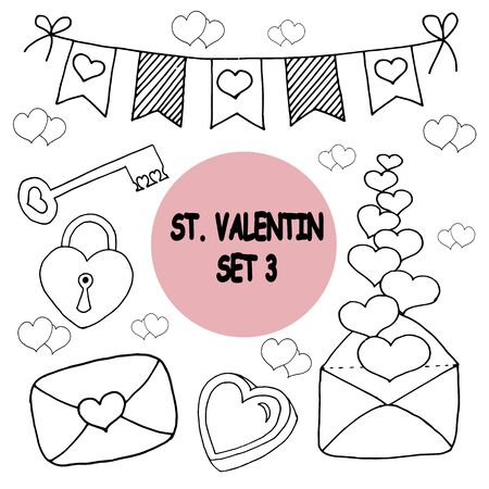 Vector on love theme. Beautiful abstract pattern with Valentines day seamless pattern for decorative design. Logo element for wedding illustration. Vintage design. Greeting card.