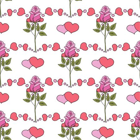 Valentines day seamless pattern roses and hearts. romantic seamless pattern with red hearts on a color background by day of wedding or valentines day