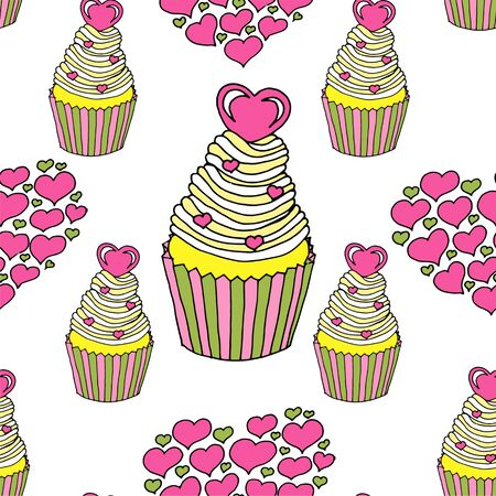 Vector graphic of the various sweets and desserts decorated into seamless pattern. Valentines day seamless pattern of hearts and cupcakes. Beautiful abstract pattern with Valentines day seamless pattern for decorative design. Logo element for wedding illustration. Vintage design. Greeting card.