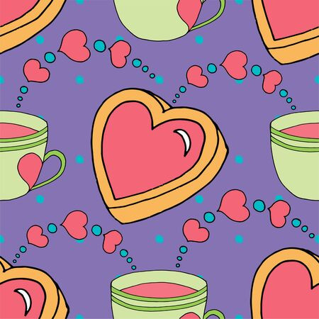 valentines day seamless pattern cup and hearts