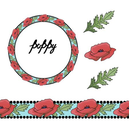 Horizontal floral border pattern. Fashion style. Floral wreath. Detailed contour wreath and seamless pattern brush with poppy isolated on white. Endless horizontal texture for your design. Illustration