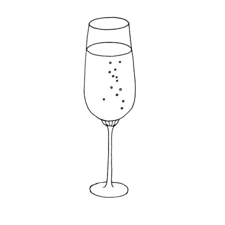 Wine Glass Isolated On The White Background. Hand drawn a glass of champagneicon isolated on a white background. Valentine day concept.