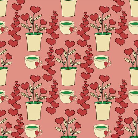 Valentines day seamless pattern with coffee cup and hearts. Beautiful greeting card with valentines day seamless pattern. Red heart valentine love logo vector. Holiday background.Vector illustration