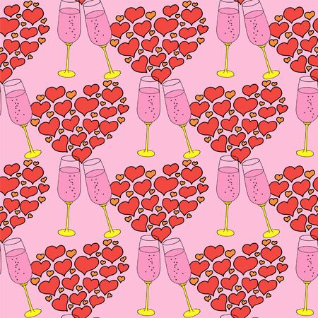 Vector seamless pattern on love theme. Valentines day seamless wine glass and hearts. Beautiful abstract pattern with Valentines day seamless pattern for decorative design. Logo element for wedding illustration. Vintage design. Greeting card.