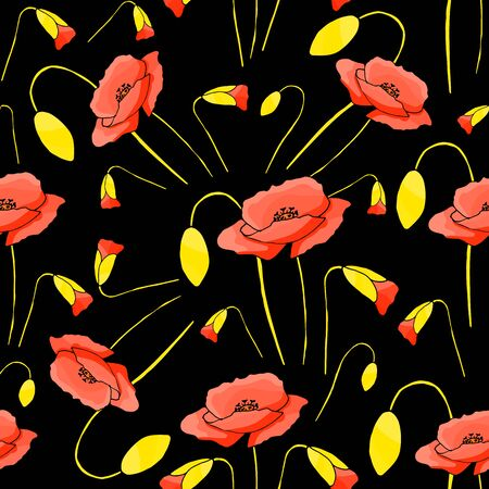 Abstract poppy seamless pattern for textile design. Floral seamless vector pattern. Graphic modern pattern. Vector illustration background. Vector design print template. Seamless vector texture. Doodle style texture.