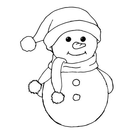 Sketching style snowmen and christmas gift boxes doodles. Hand drawn snowman isolated on a white background.
