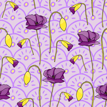 Poppies stripped seamless pattern. Abstract poppy seamless pattern for textile design. Floral seamless vector pattern. Graphic modern pattern. Vector illustration background. Vector design print template. Yellow, orange, red, brown.