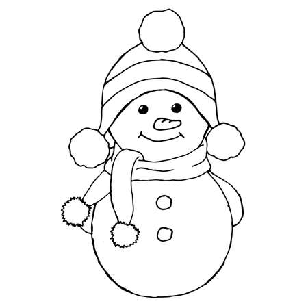 Hand drawn snowman isolated on a white background. Sketching style snowmen and christmas gift boxes doodles