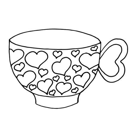 A teapot from which steam flows in the form of a heart. Vector illustration of a logo for a ceramic teapot. Hand drawn teapot and mugs with hearts isolated on a white background. Illustration