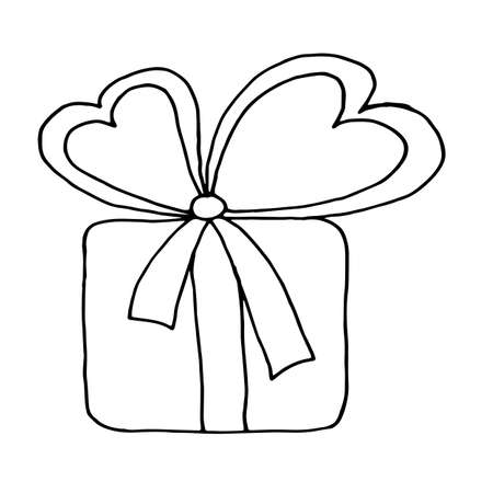 Gift box collection. Hand drawn illustrations. Great for birthday, xmas and valentine day gift. Hand drawn gift with bow heart isolated on a white background. Illustration