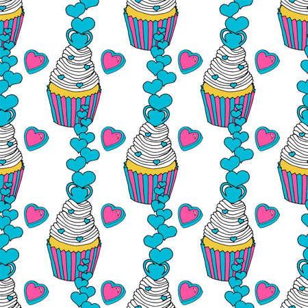 Valentine's day seamless pattern of hearts and cupcakes. Graphic of the various sweets and desserts decorated into seamless pattern. Illustration