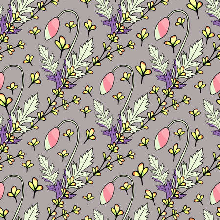 Design element. Floral seamless pattern. Seamless texture. Textile design. Vintage ornament pattern. Creative abstract background. Colored background. Illustration